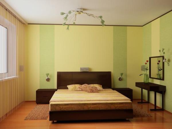 сочетание обоев в спальне фото 8