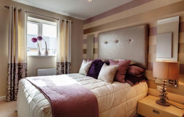 сочетание обоев в спальне фото 9