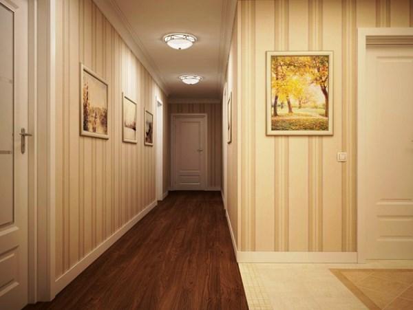 светлые обои в коридоре фото