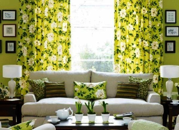 какие шторы подойдут к зеленым обоям фото