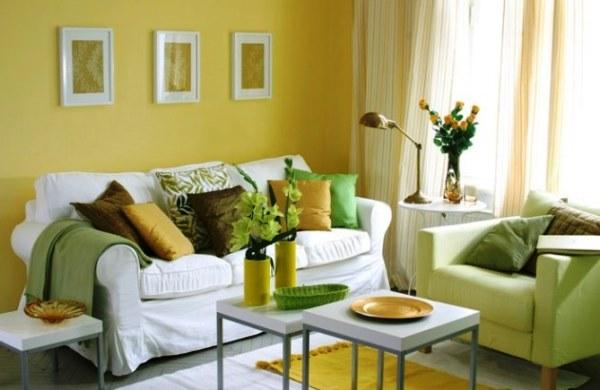 какие шторы подойдут к желтым обоям фото