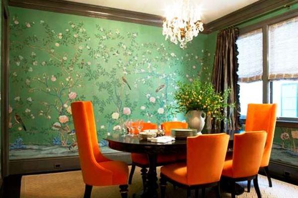 комната с зелеными обоями фото