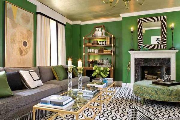 шторы к зеленым обоям фото