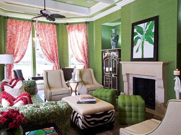 шторы под зеленые обои фото