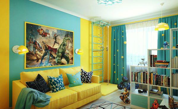 шторы под желтые обои фото