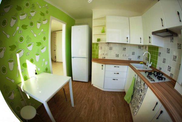 зеленые обои на кухне фото
