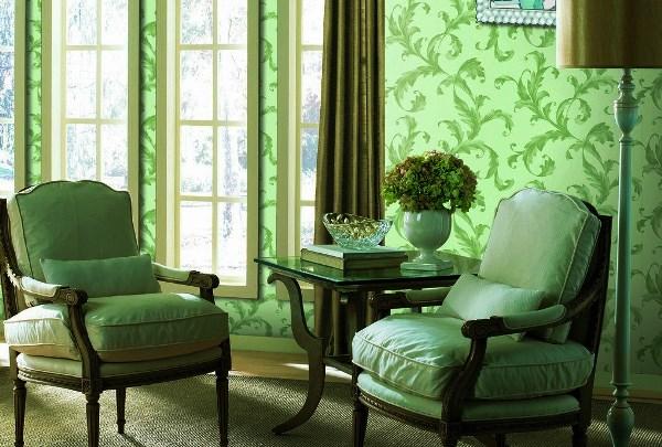зеленые обои в гостиной фото