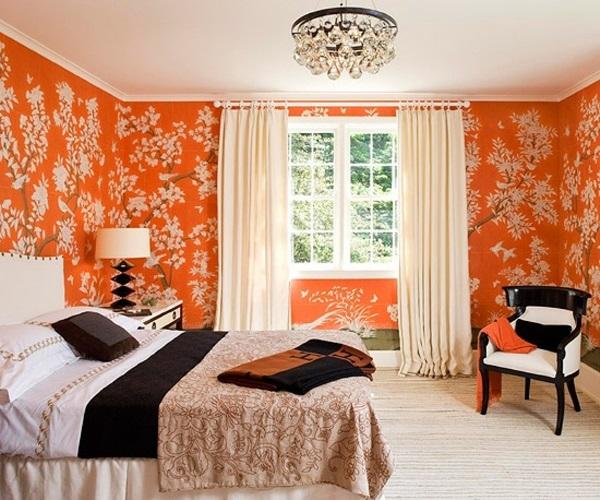 какие шторы подойдут к оранжевым обоям фото