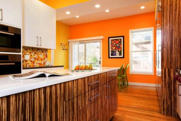 оранжевые обои для кухни фото