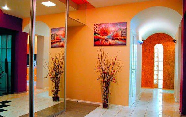 оранжевые обои в интерьере фото