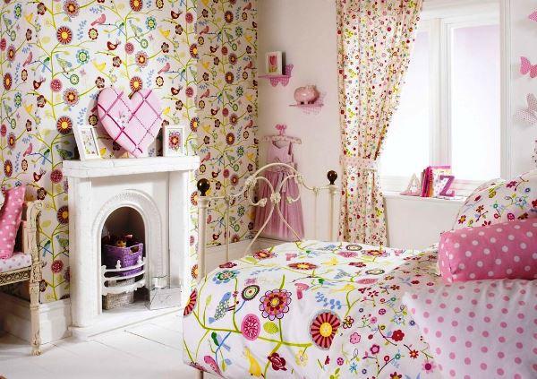 шторы к обоям с цветами фото