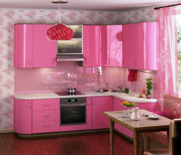 Обои для кухни фото 2015 для маленькой кухни с розовой мебелью