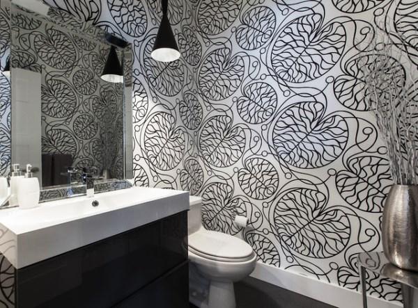 отделка туалета обоями фото