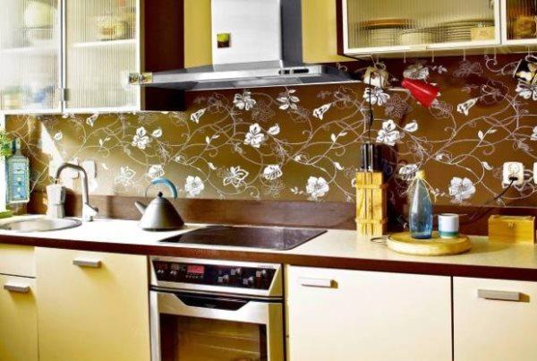 Идеи поклейки обоев на кухне фото