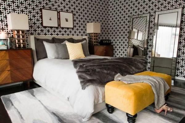 Оформление спальни обоями фото