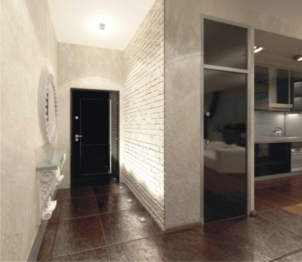 Отделка стен декоративным обоями в прихожей и на кухне фото