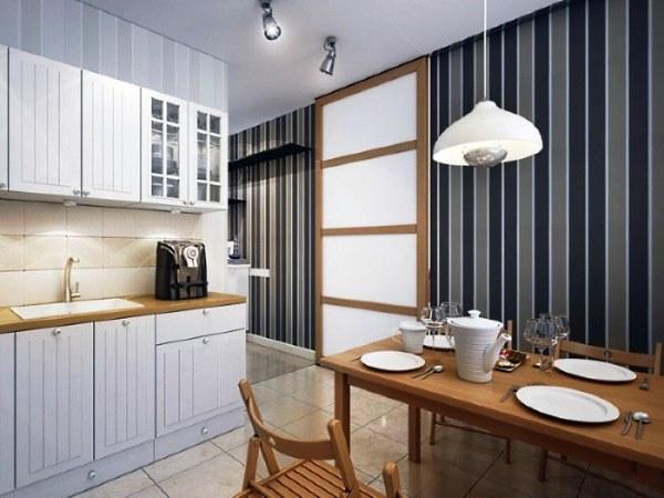 Отделка стен кухни обоями фото