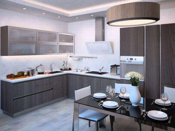 наклонная вытяжка в интерьере кухни фото 4