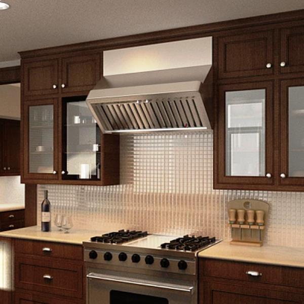 наклонная вытяжка в интерьере кухни фото 5