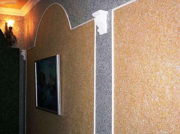 оформление и отделка стен жидкими обоями фото