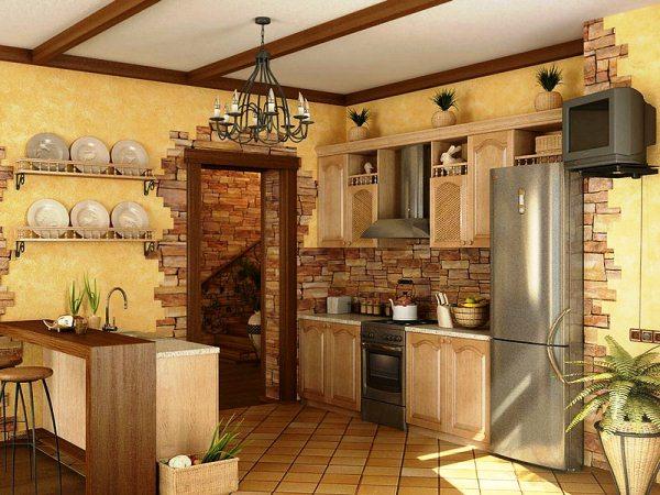 отделка стен кухни декоративным камнем