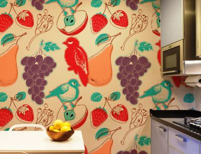 обои на кухню в интерьере фото